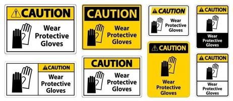 Caution Wear protective gloves sign set vector