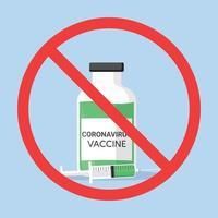 rejection of the coronavirus vaccine flat icon vector