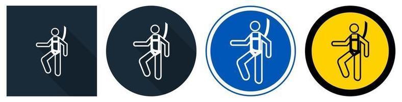 símbolo usar arnés de seguridad letrero conjunto vector