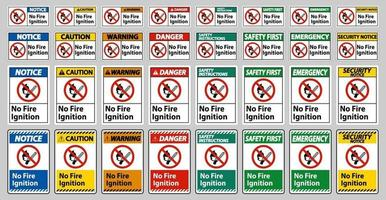 No Fire Ignition Symbol Sign set vector