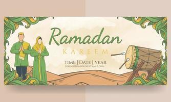banner de ramadan kareem dibujado a mano vector