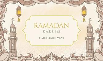 Hand drawn ramadan kareem with islamic ornament. perfect for greeting card or banner vector