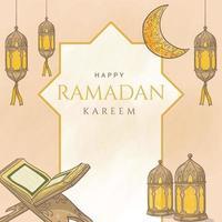 hand drawn ramadan kareem with islamic ornament vector