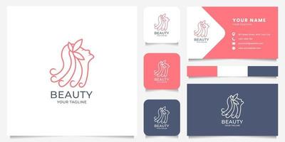 Line Art Woman Logo with Business Card Template vector