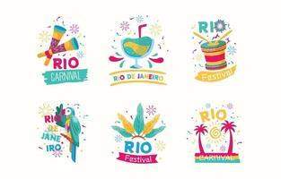 Brazilian Rio De Janeiro Sticker set Template. vector