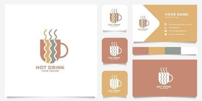 Hot Drink on Cup Logo with Business Card Template vector