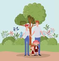 familia en el parque vector