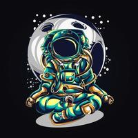 astronaut yoga artwork illustration vector