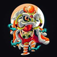 lion dance artwork illustration vector