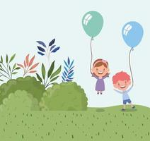 happy little kids with balloons outdoors vector