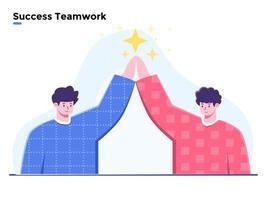Flat illustration Success Team Work, Success and got achievement business team, Successful team work together, winner teamwork, Winning Trophy achievement, Business People Celebrating Victory. vector