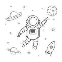 pequeño astronauta y esquema del espacio exterior para niños libro para colorear vector