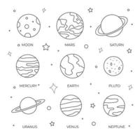 Set of hand drawn planets and moon for coloring page or children book vector