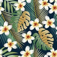 patrón sin fisuras con flores tropicales y hojas de fondo exótico.
