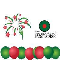 Bangladesh Independence Day Flat Patriotic Design. Bangladeshi Flag Balloons. vector