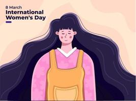 Happy International Women's Day at 8 March 2021 with beautiful  cute woman illustration, Women's day cute greeting card with cute young woman and flowers. Celebrate world woman day. Can use for Postcard, banner, poster, invitation.