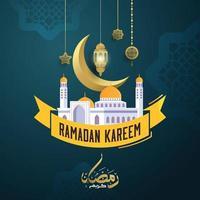 tarjeta de felicitación de caligrafía árabe ramadan kareem vector