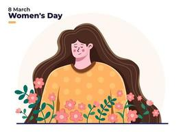 International Women's Day at 8 march flat illustration organic with soft pastel colors, Happy woman day, Beautiful cute woman celebrate women's day, can use for greeting, postcard, invitation, banner.