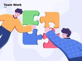 Teamwork and team building flat style vector illustration. Team metaphor. People connecting puzzle. Business person assembling jigsaw puzzle. Solve business problem together. Working Together.