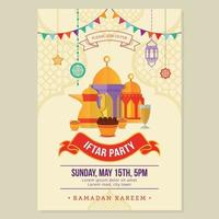Iftar party template poster for ramadan season holy month vector