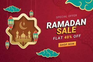 Ilustración de vector de promoción de descuento de banner de venta de Ramadán