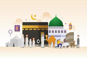 Eid adha mubarak with tiny people character design concept vector