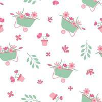 Seamless pattern with springtime garden scene vector