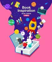 Book Inspiration, ideas coming out of books and into space, vector illustration.