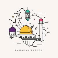 Ramadan kareem doodle hand drawn vector illustration