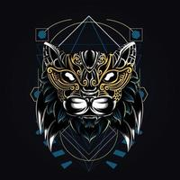 ornamental cat artwork illustration vector