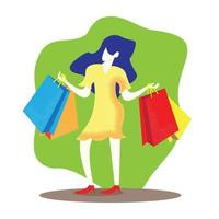 Woman in yellow dress hold shopping bags vector image