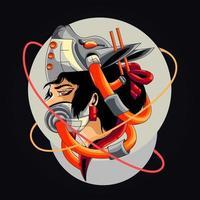 geisha cyber artwork illustration vector