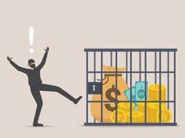 Saco de dinero con el signo de dólar deseado por el ladrón atrapado dentro de una jaula cerrada vector