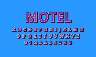 text effect motel font alphabet vector