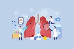 concepto de diseño de proceso moderno de tratamiento pulmonar vector