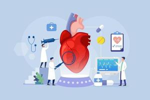 Heart treatment modern process design concept with tiny people vector