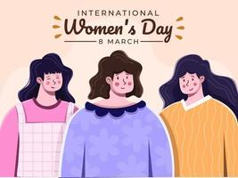 Illustration of International Women's Day at 8 march with diversity. Choose to challenge woman day themes 2021. Greeting happy women's day with cute and beautiful woman illustration. Banner, Postcard, poster, greeting card, invitation.