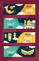 Happy Eid Mubarak Ramadan Kareem Banner Set vector