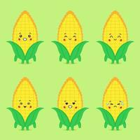 Cute Corn With Various Expression Set vector