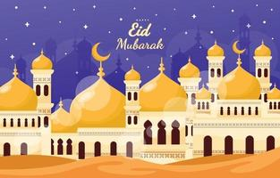 Happy Eid Mubarak Mosque with Glowing Star vector