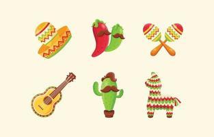 Cinco De Mayo Cute Icons Set vector