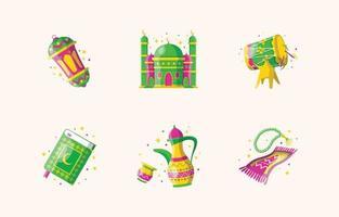 Happy Eid Mubarak Cute Icon Set vector