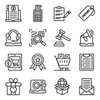 paquete de compras y compras de iconos lineales. vector