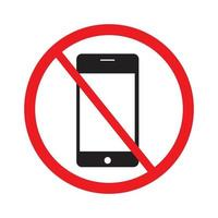 Do not use your mobile phone icon on white background vector. vector
