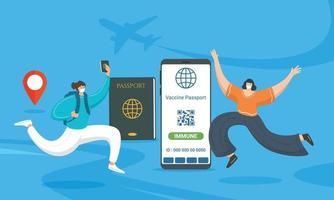 Concepto de certificado de vacunación digital, mujer joven feliz con pasaporte de vacuna vector