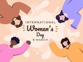 feliz día internacional de la mujer el 8 de marzo con ilustración plana de diversidad de nacionalidades. mujeres de diferentes etnias celebrando juntas el día de la mujer. día festivo de la mujer. tarjeta de felicitación, pancarta vector