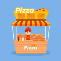 Salesman Sell Pizza Booth Street vector