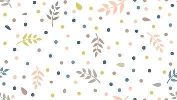 patrón floral con hojas y puntos en un estilo infantil mínimo. Fondo festivo inconsútil abstracto. florecer jardín ornamental con adornos de lunares. vector