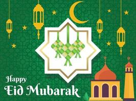 happy Eid mubarak celebratory illustration, greeting card vector