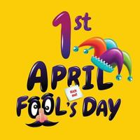 April Fool's Day typography and jester hat, colorful flat design vector